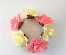 Flower Bun Ring Scrunchie Hair Elastic Yellow and Coral Rosebud
