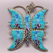 Navajo Mosaic with Turquoise+Mother of Pearl Necklace Pendant.