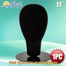 Black female foam velvet MANNEQUIN head holder base display wig hat glasses 11""