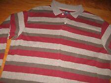 Chaps Ralph Lauren XL Red Beige Brown EUC Long Sleeve Polo Shirt Top