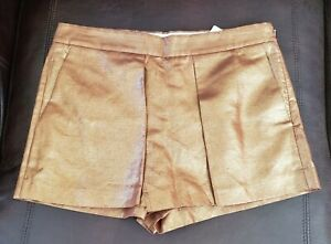 J.Crew Bronze Metallic Gold Linen Crossover Skirt Shorts S4