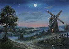 LOVELY ORIGINAL WINDMILL NIGHT MOONLIGHT LANDSCAPE OIL PAINTING MOON ART