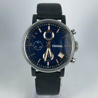Fossil Mens ES4113 Stainless Steel Black Leather Band Quartz Multi Dial Watch