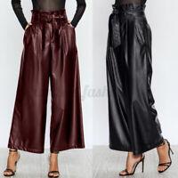 ZANZEA Femme Taille haute Poches Jambes larges Pantalon en cuir Avec Ceinture