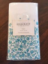 4pc Hillcrest Fine Linens Floral Turquoise Blue Green Dinner Napkins Nwt