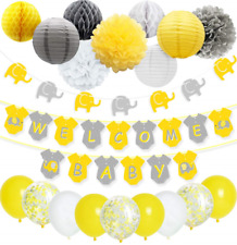 Yellow Grey Elephant Baby Shower Decorations Neutral for Boy or Girl, Welcome