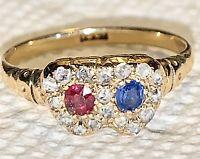 ANTIQUE Victorian Diamond Sapphire Ruby Heart 18K Ring VALENTINES DAY! SALE!