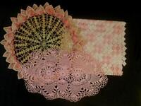 3 VINTAGE TABLE PCS - 2 HAND CROCHETED LACE DOILIES,1 MACHINE MADE TABLE RUNNER