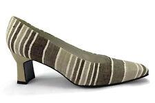 Stuart Weitzman Gray Canvas Striped Classic Heel Pumps  Womens Size 8.5 B