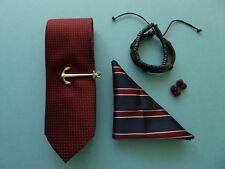 The Knot Club Tie + Anchor Tie Bar + Bracelets + Navy Pocket Square + Cufflinks