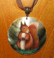 Pendant Red Squirrel with Nut Genuine Russian hand painted Black Lip SHELL GIFT