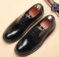 Brogue Mens Real Leather Business Shoes Work Oxfords Lace up Wedding Office New
