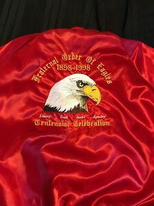 Vintage Fraternal Order Of Eagles Bomber Snap-Up Jacket XL Centennial PreWorn 98