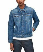 G-Star Raw Mens Jacket Blue Size Large L Jean Denim Button-Front $180 #186