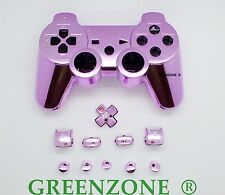 Replacement PS3 Chrome Pink Controller Shell Mod Kit + Matching Buttons Kit