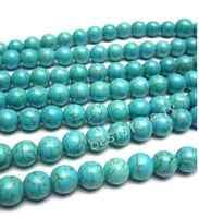 "One Strand 16"" 6mm Howlite Turquoise Gemstone Round Beads Free Ship"