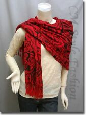 Floral Prints Stole Scarf Shawl Wrap Black Red OS