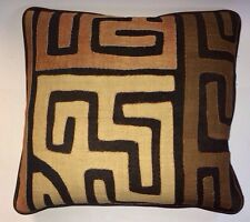 Designer Vintage Kuba Cloth & Plush Italian Leather Pillow Down/feather zipper