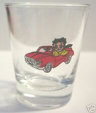 BETTY BOOP CRUISING IN HER CAR ON A CLEAR  SHOT GLASS