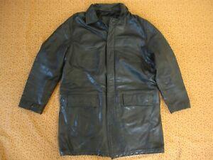 Veste Serge Blanco Parka Noir Hiver Coupe vent Homme cuir Vachette - XL