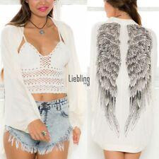 Women Kimono Cardigan Long Loose Blouse Wings Printed Beach Cover Up Coats LEBB
