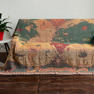 Retro Antique Style World Map Cotton Throw Bed Blanket Sofa Cover Rug L-XXL