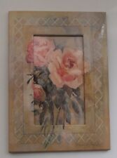 "Floral PHOTO FRAME 5""x7"" Fits 3""x5"" Photo GLOSSY CARDBOARD Easel Stand TABLETOP"