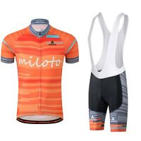 Men's Cycling Bike Short Sleeve Clothing Bicycle Set Jersey Black Bib Shorts