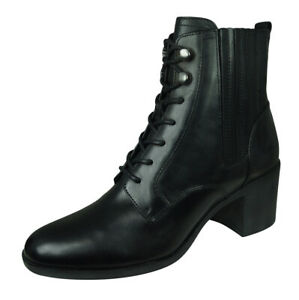 Geox D Glynna A Womens Leather Ankle Boots High Top Black