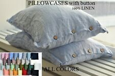 Pillow case color Melange Blue 100% Linen PILLOW SHAM Cushion Cover Queen King