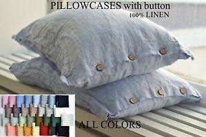 Pillow case color Melange Blue 100% Linen PILLOW SHAM Cushion Cover Queen King