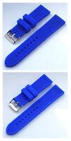 Silicona Pulsera de reloj deportivo Calidad Superior Cierre acero en Azul 22mm