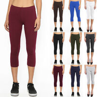 TheMogan Women's Essential Basic Plain Cotton Spandex Capri Cropped Leggings