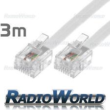 3m Metros Rj11 A Rj11 Cable Modem Banda Ancha / Internet Plomo largo Dsl Blanco Rj-11
