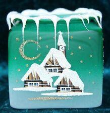 Kelch fürs Teelicht aus Glas grün Weihnachten handbemalt