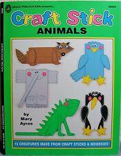 """Craft Stick Animals"" Make 15 Creatures w/ Craft Sticks & Woodsies Kids Fun Book"
