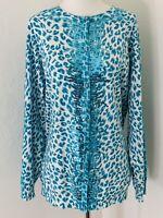 Quacker Factory Women's Sz Large Sequin Animal Print Turquoise Cardigan Sweater