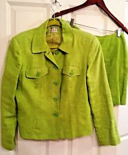 Kenar Studio Lime Green Plaid Jacket & Skirt Suit 100% Linen Size 10. Gorgeous