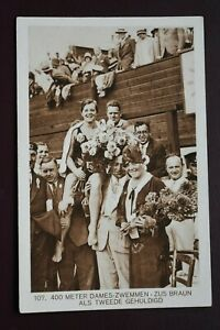 Original Olympic Games 1928 Amsterdam Swimming postcard Weenenk Snel card Sport