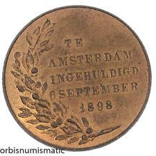 NETHERLANDS WILHELMINA AMSTERDAM 6 SEPTEMBER 1898 INAUGURATION MEDAL TOKEN Z583