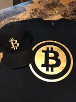 Set of soft black T shirt and Embroidery cap with Bitcoin design in Gold.