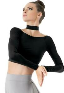 Dance Crop Top Small/Large Adult Black Lycra Long Sleeve High Neck Contemporary