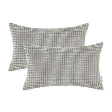 2Pcs CaliTime Cushion Covers Pillows Shell Corduroy Corn Striped 30x50 Taupe