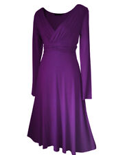 Vintage Style Long Sleeved Calf Length Evening Formal Party Dress Sizes 8 - 24 16 Purple