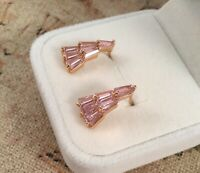 Vintage Jewellery Gold Earrings Ear Rings Pink Sapphires Antique Deco Jewelry