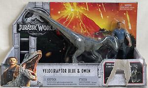 Jurassic World Velociraptor Blue & Owen Figures - New (Box Dmg) 2017 Mattel