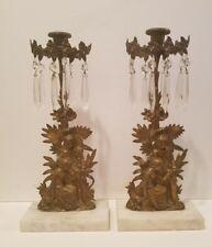 Antique Pair of Bronze Candelabra Girandole Candleholder w/Glass Prisms