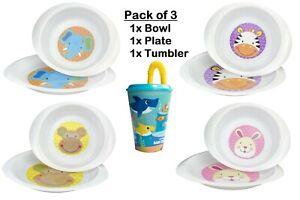 Baby Oval Feeding Plate, Bowl & Tumbler Breakfast Dinner Set Microwave Safe 12m+