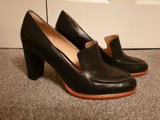 BNWB *Clarks* 'Ellis Mable' business black leather cushion heel shoes UK 6 39.5