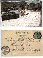 1898 Gruss aus COBURG Litho-AK nach Lichte mit Ankunftsstempel von Wallendorf